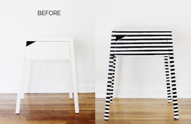 Mobili Ikea, personalizzarli con il nastro adesivo, da seekatesew.com