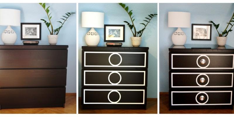 Idea per personalizzare la cassettiera Malm Ikea, da maggieoverbystudios.com
