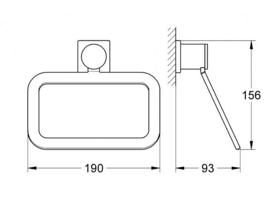 Porta salviette ad anello Grohe Allure: schema tecnico