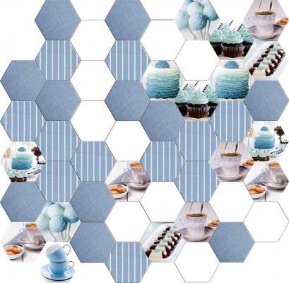 Piastrelle esagonali da cucina con cupcakes di Ceramiche Da Vinci