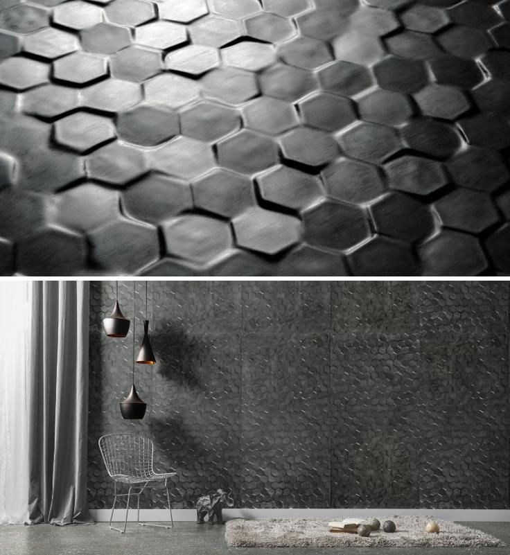 Piastrelle tridimensionali Cemento 14 Wall LatoSei di 14oraitaliana