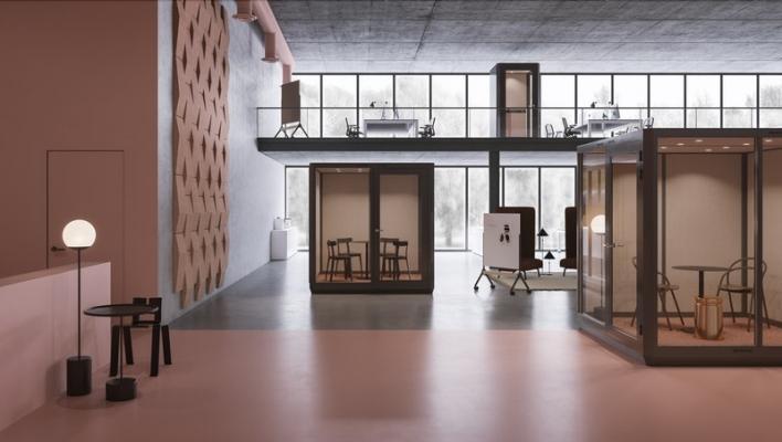 Materiale insonorizzante per la cabina ufficio Plenty Pod di Abstracta