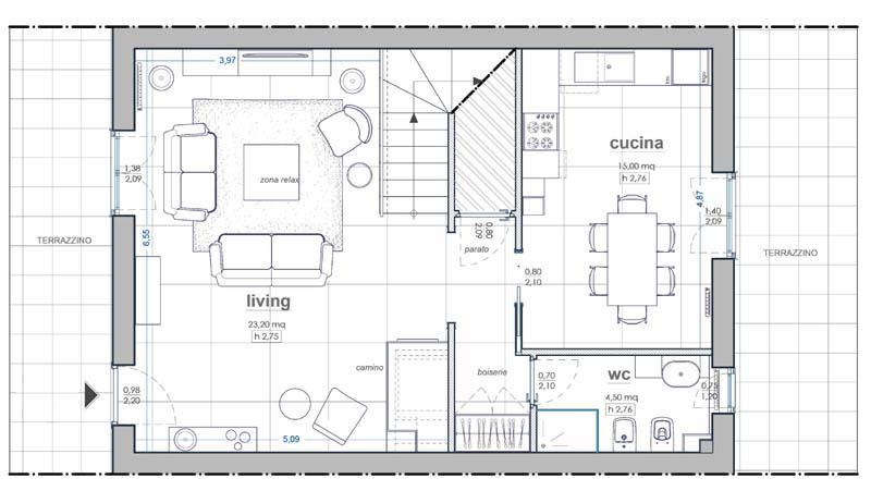 Progetto di ristrutturazione zona living- Blu Space