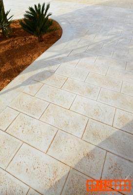 Pavimento cemento stampato travertino - Isoplam