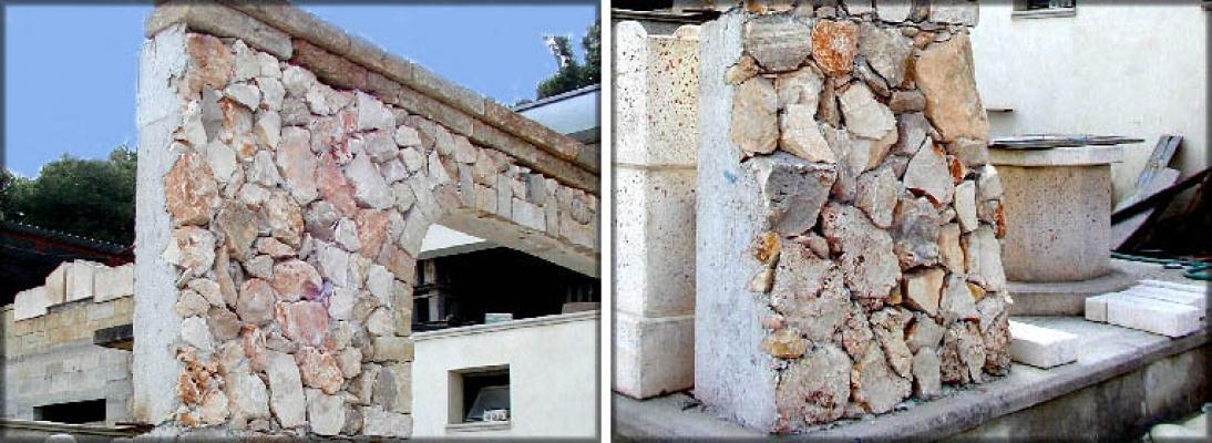 Prefabbricati de La Pietra Taurina con rivestimento in pietra da spacco per recinzioni e muri di contenimento