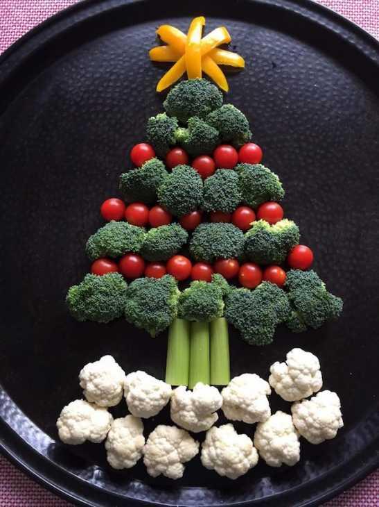 Alberello di Natale con verdure commestibili, da melaniecooks.com