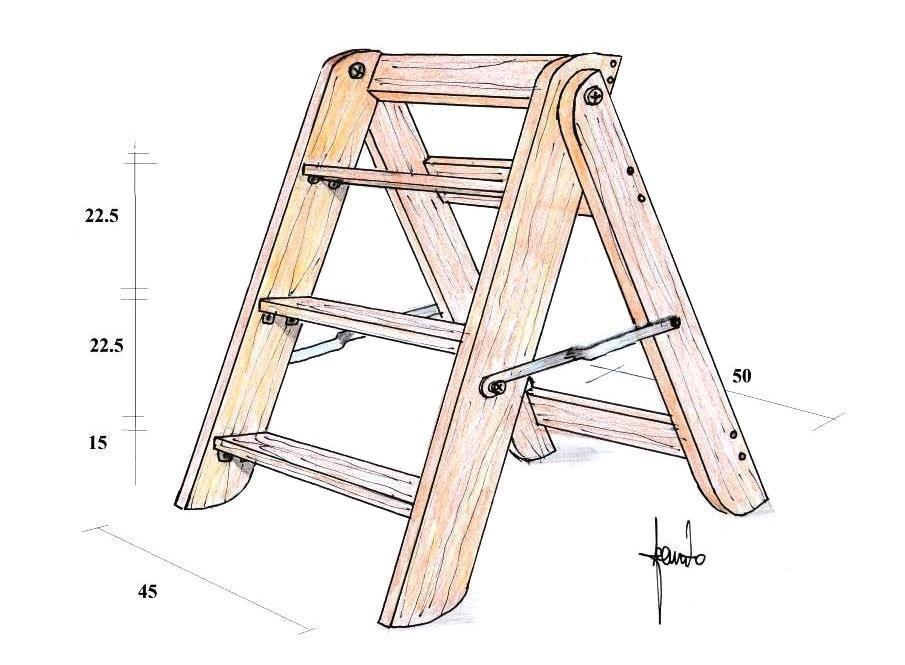 Scaletto in legno realizzato in fai da te
