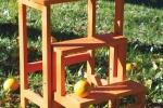 Sgabello scala in legno naturale Happy Flowers di Del Fabbro