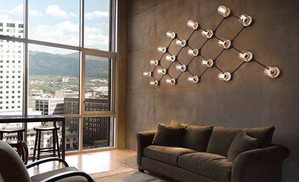 Sistema di illuminazione a vista in stile vintage di Aldo Bernardi