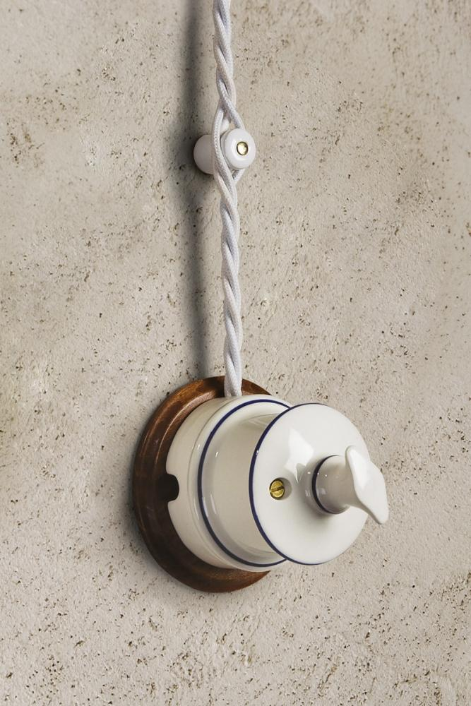 Interruttore vintage in ceramica Antares di Aldo Bernardi
