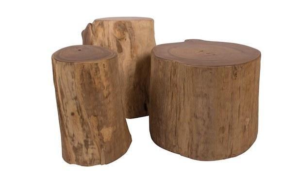 Tavolini bassi con tronchi d'albero, da Il Giardino del Legno