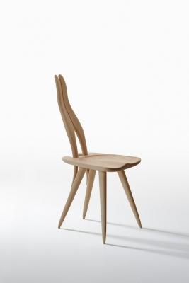 Sedia in legno grezzo dal design originale, da Zanotta