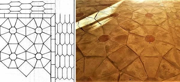 Bozzetto di pavimento tradizionale in cotto e pavimento finito, by Cotto Stefani