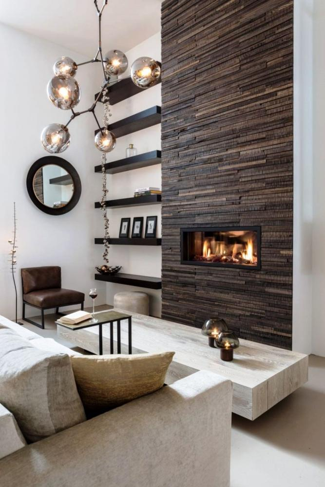 Parete a mattoncini effetto legno scuro - Live Stone
