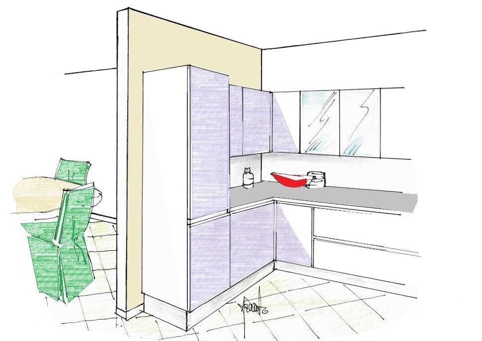 Muro divisorio creato tra cucina e soggiorno
