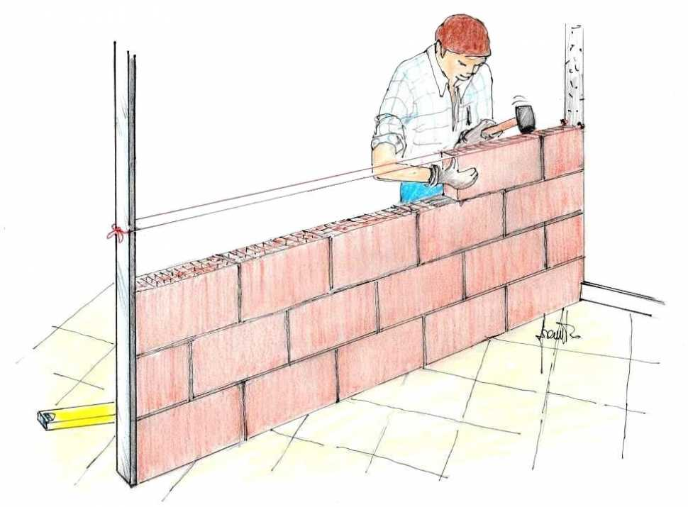 Posa mattoni per realizzazione muro divisorio interno