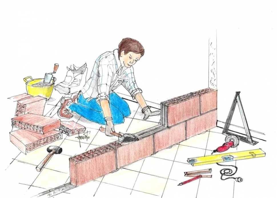 Posa prime file mattoni del muro divisorio interno