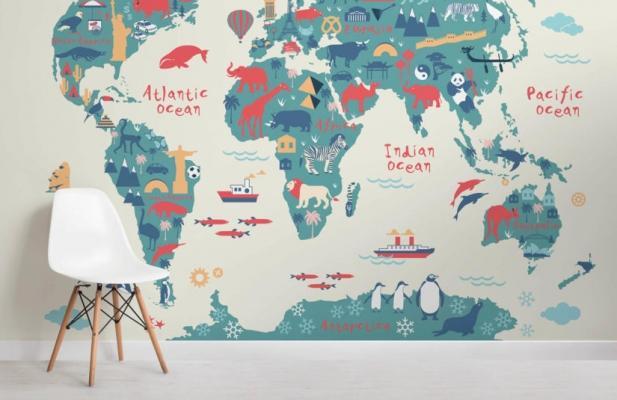 Carte da parati con planisfero: Murals Wallpaper - Explorer