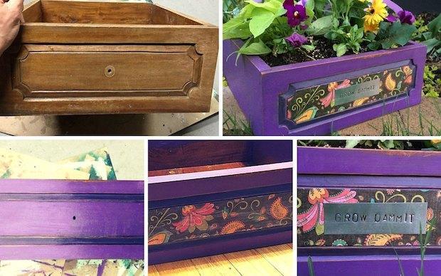 Idee riciclo creativo: fioriere con vecchi cassetti, da hometalk.com
