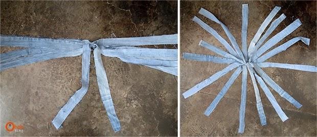 Cestino portaoggetti con vecchi jeans intrecciati: parte 2, da ohohdeco.com