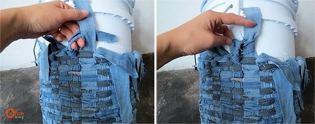 Cestino portaoggetti con vecchi jeans intrecciati: parte 5, da ohohdeco.com