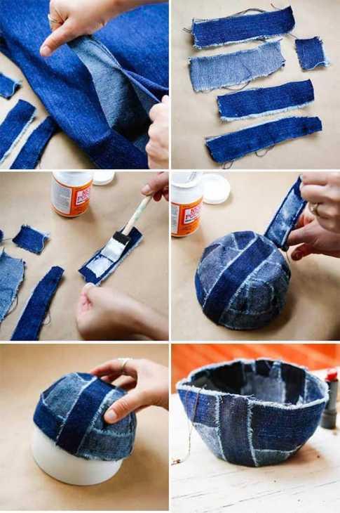 Portaoggetti con vecchi jeans: tutorial, da helloglow.com