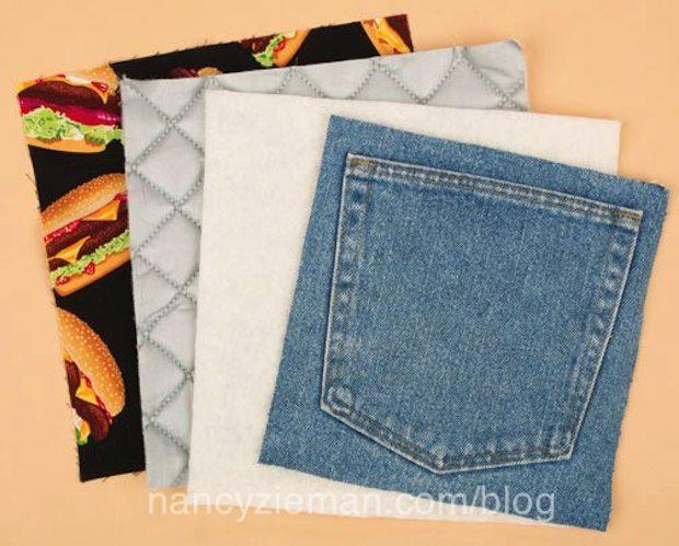 Presine per la cucina dalle tasche dei jeans, da nancyzieman.com