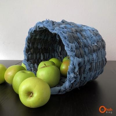 Cestino portaoggetti con riciclo jeans, da ohohdeco.com