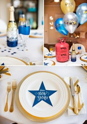 Blu e oro per allestire la tavola di Capodanno, da hwtm.com