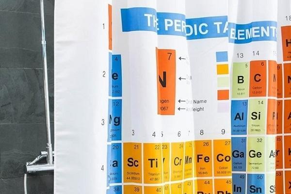 Arredamento Geek tenda doccia tavola periodica
