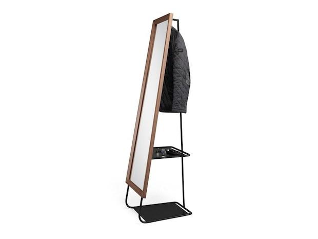 Specchio rettangolare con appendiabiti e scarpiera nascosti, da Wewood