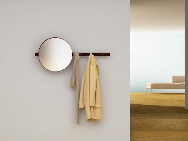 Appendiabiti con specchio rotondo, da TrackDesign