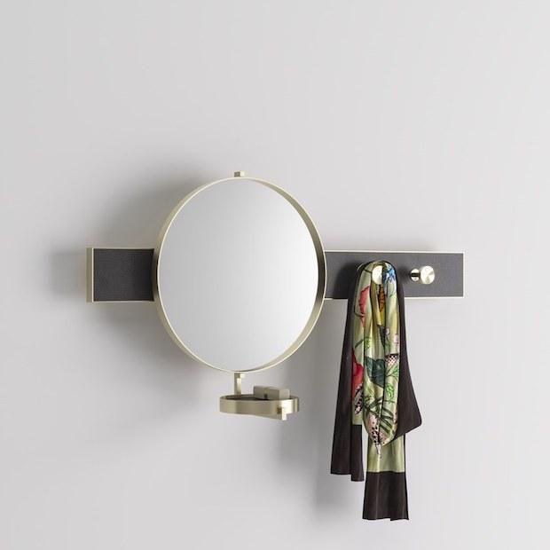 Appendiabiti in metallo con specchio e vaschetta svuota tasche, da PROF