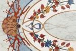 Pavimento di marmo intarsiato con motivi marini e floreali, by Budri