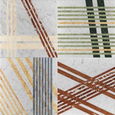 Pavimento in marmo Mikado di Lithos Design a sfondo bianco