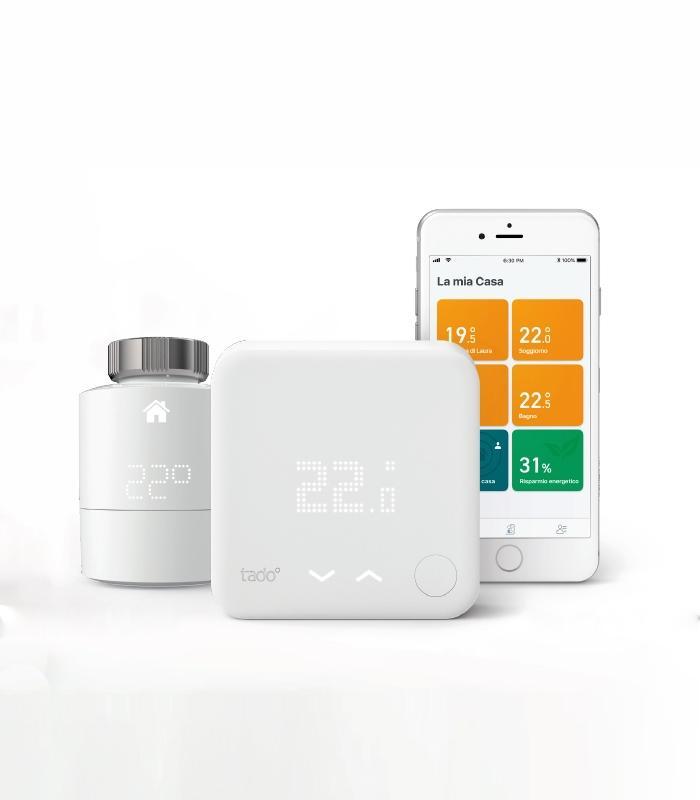 Kit per il riscaldamento intelligente di Tado° con termostato, testa termostatica e app per smarphone