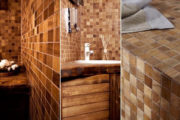 Mosaico in legno per rivestimenti interni di Wodewa