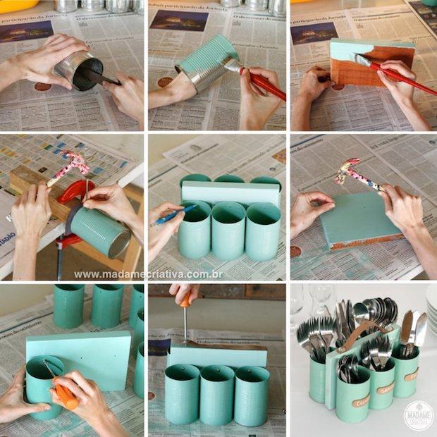 Portaposate con barattoli di latta, da madamecriativa.com.br