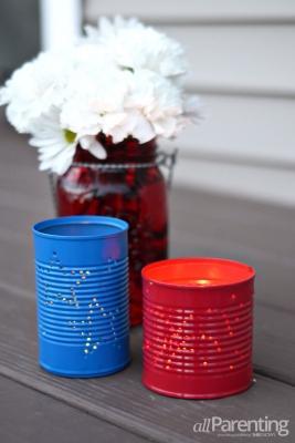 Luminarie porta candele con barattoli di latta, da allparenting.com