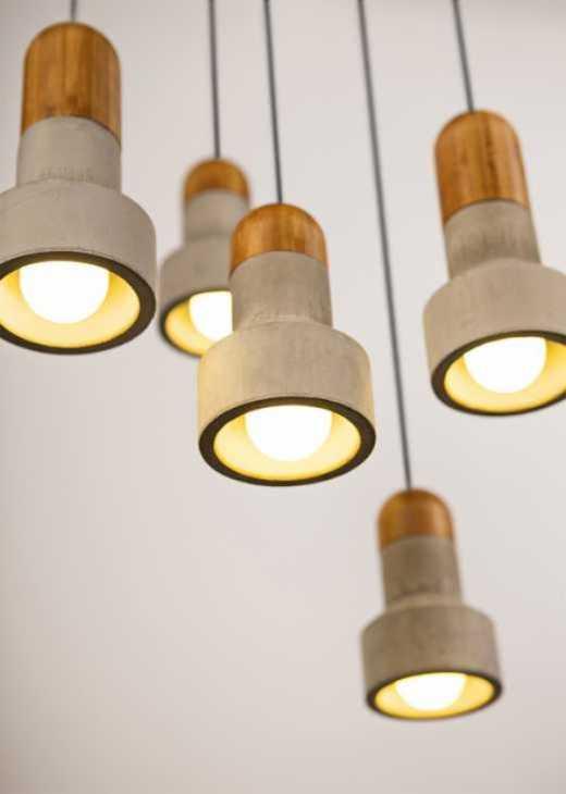 Lampada in calcestruzzo e bambù di Bentu Design