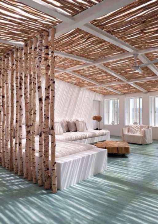 Le canne di bambù spesso sono utilizzate come elemento di separazione tra ambienti