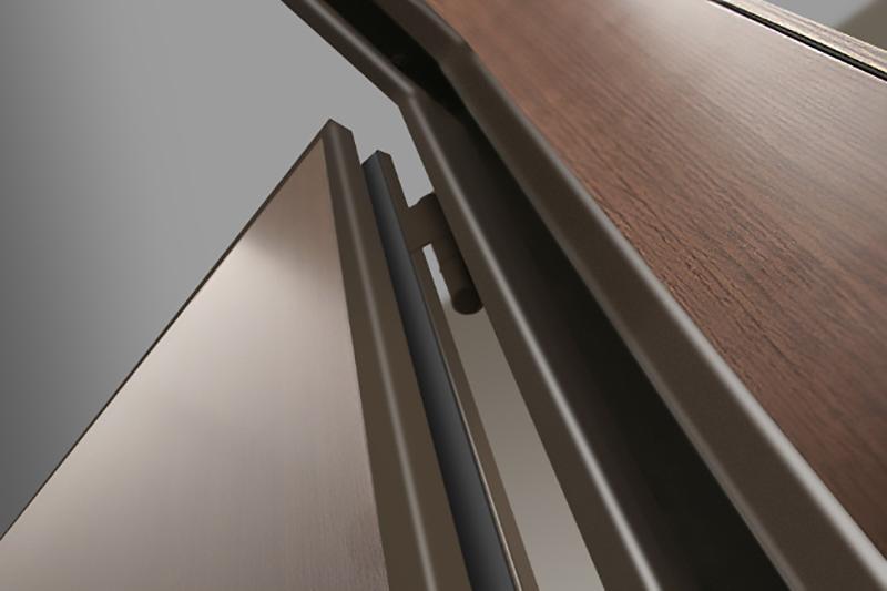 Porta blindata secura legno: particolare della cerniera