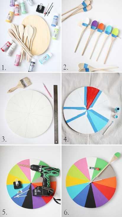 Orologi creativi fai da te con i cucchiai di legno: tutorial, da abeautifulmess.com