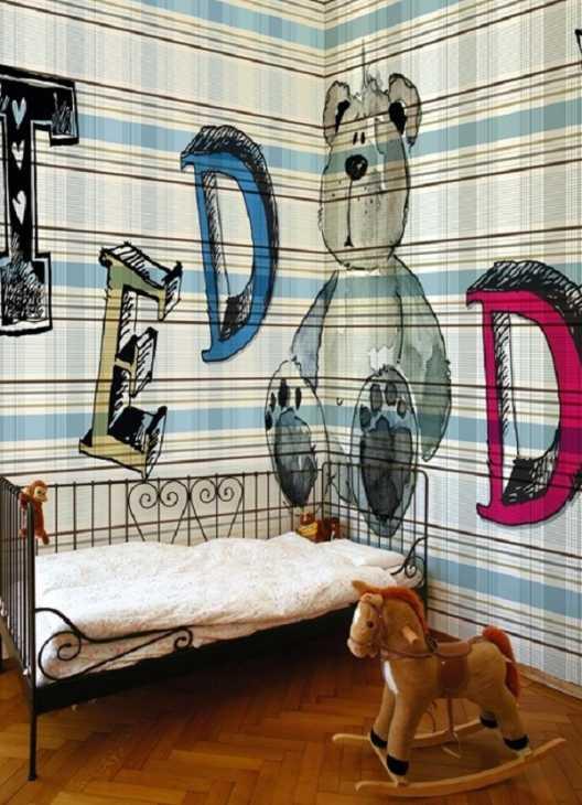 Carta da parati tartan anche nella stanza dei bambini, da Wall&Decò
