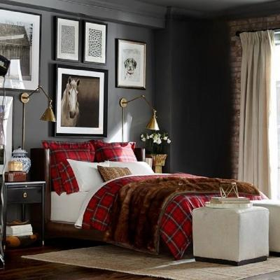 Il tartan in camera da letto, da Williams Sonoma
