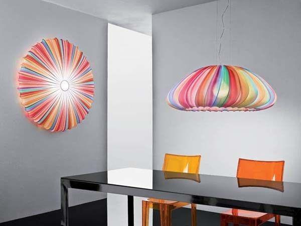 Lampadario colorato in tessuto modello Muse di Axolight