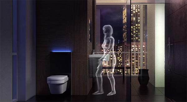 Sciacquone esterno per wc Monolith Plus di Geberit con luce a led