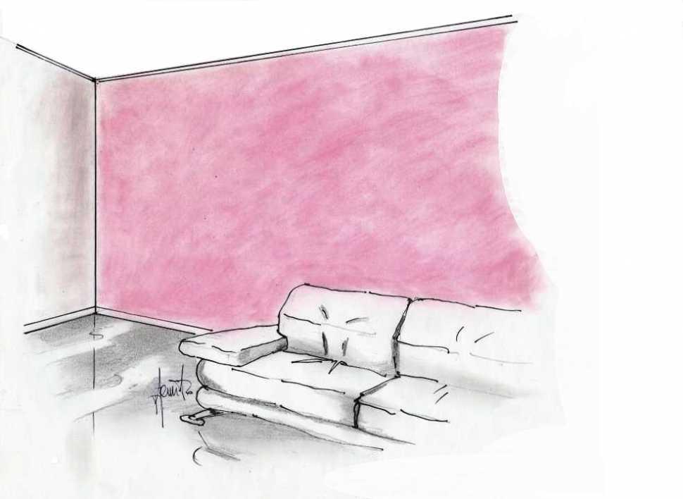 Tinteggiatura salotto: effetto nuvolato a parete