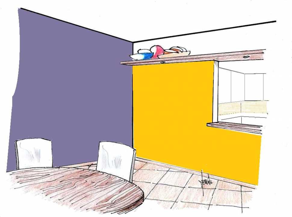 Pittura pareti giallo e glicine