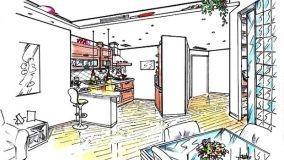 Cucina soggiorno open space: progetto con divisorio diagonale